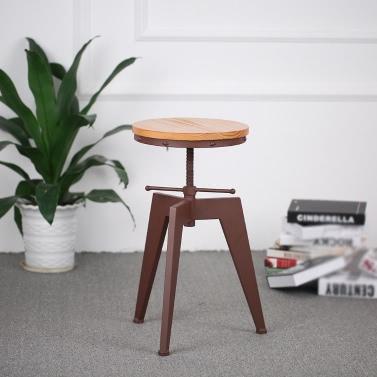 iKayaa Metal Height Adjustable Swivel Industrial Style Bar Stool Pinewood Top Kitchen Dining Chair Barstool