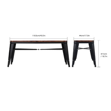 iKayaa 2 Seater Kitchen Dining Bench Chair Natural Pinewood Top Metal Frame Patio Garden Bench Furniture 150KG Capacity