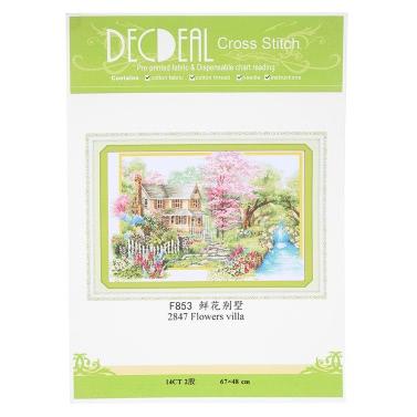 Decdeal DIY Handmade Needlework Cross Stitch Set 67 * 48cm Embroidery Kit 14CT Printed Cross-Stitching Home Decoration