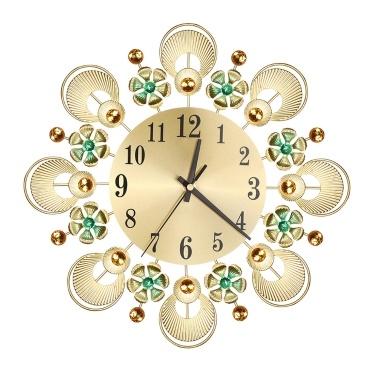 Retro Luxus Dekorative Blume Diamant Runde Quarzuhr Kunst Wanduhr Stumm Startseite Wohnzimmer Dekor
