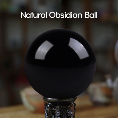 40mm Natural Black Obsidian Crystal Ball Healing Stone Home Office Ornament Holiday Gift