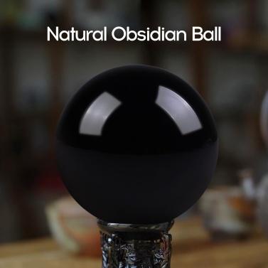 40mm natürlichen schwarzen Obsidian Crystal Ball Heilstein Home Office Ornament Weihnachtsgeschenk