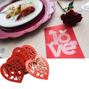 10 Stücke Holz Herz Hohle Ich Liebe Dich mit String Hochzeit Hängende Ornamente DIY Handwerk Dekoration