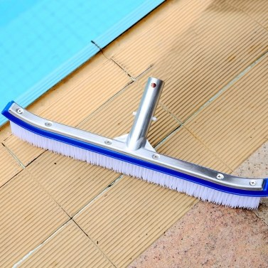 "18"" Swimming Pool Wall & Tile Brush Deluxe with Poly Bristles for Cleans Walls, Tiles & Floors, Nylon Bristles Pool Brush Head with EZ Clips (Pole not Included)"