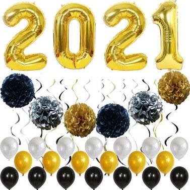 50PCS New Year 2021 Balloons Party Decorations Set
