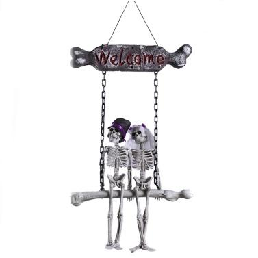 Halloween Welcome Plaque Skull Bride Groom Hanging Decoration