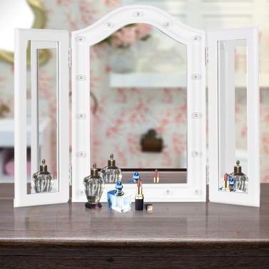 IKayaa LED beleuchtete Trifold Vanity Mirror Stand Falten Countertop Kosmetik Make-up Spiegel Tisch Marquee Bevelled Edge
