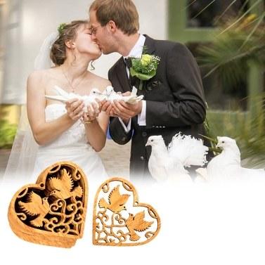 10 Stücke Holz Herz Hohl Vögel Hängen Ornamente für Hochzeit DIY Anhänger Dekoration