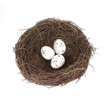 Bird Nest Crafts with 3 Bird Eggs Handmade Easter Rattan Bird House Home Decoration