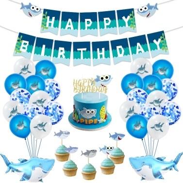 Baby Shark Party Supplies Birthday Baby Happy Birthday Banner Shark Balloons