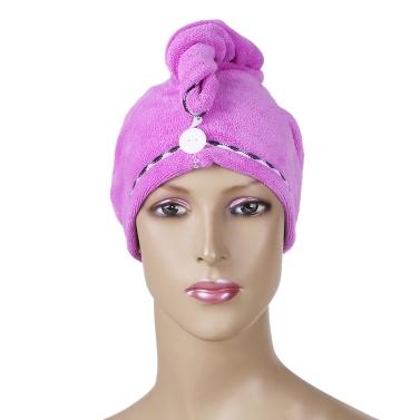 Htovila 2pcs Soft Microfiber schnell trockenes Haar trocknen Handtücher wasserabsorbierend trockenes Haar Cap Bad Dusche Wrap Turban Handtuch mit Knopf für alle Haartypen und Längen
