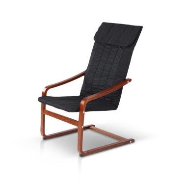 iKayaa Contemporary Reclining Bentwood Chair 286LB Capacity Natural Birch Wood Lounge Chair Comfortable Armchair