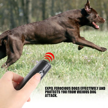 3 in 1 Anti Barking Stop Bark Device Portable Handheld Ultrasonic Pet Dog Repeller Control Training Device Trainer With LED Black