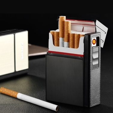 Creative USB Rechargeable Electronic Hit Fire Machine Windproof Flameless Detachable Cigarette Case Metal Smoking Lighters with Heating Wire