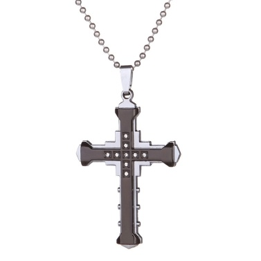 Männlicher Kristall Kreuz Anhänger Edelstahl