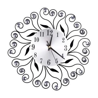 Retro Luxus Dekorative Blume Diamant Runde Quarzuhr Metall Kunst Wanduhr Stumm Startseite Wohnzimmer Dekor