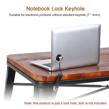 Notebook-Schloss Schlüsselloch Tragbares Schlossloch Runde Diebstahlsicherung für PC Laptop Projektor Tablets Elektronische Geräte (Schwarz)