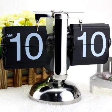 Small Scale Table Clock Retro Flip Over Clock Stainless Steel Flip Internal Gear Operated Quartz Clock