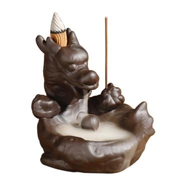 Ceramic Crafts Backflow Incense B-urner Carp Buddhist