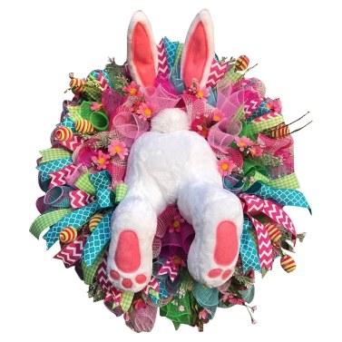 Easter Rabbit Shape Wreath Front Door Wall Decoration