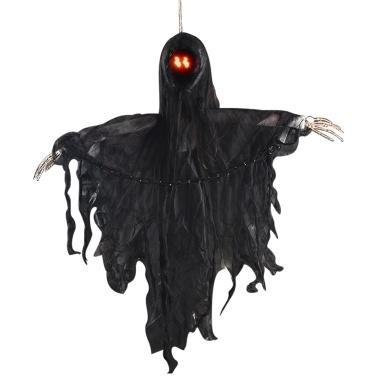 Halloween hängender Geist mit roten LED-Augen-Ketten Scary Creepy Flying Skull Ghost Voice Control Halloween Ornament Geschenk für Indoor Outdoor Party Bar Festivals Dekoration