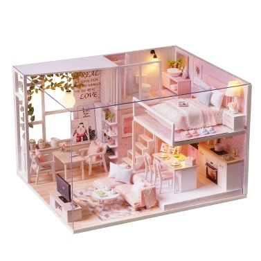 DIY Miniature Loft Dollhouse Kit 3D Pink Wooden House Room(No Dust Cover-No Music Box)