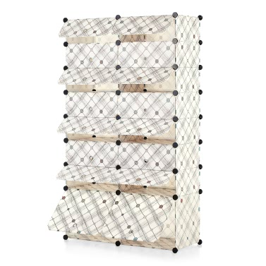 iKayaa Multi-Use 50 Pairs DIY Cube Plastic Shoes Rack 16 Grids Shoes Storage Cabinet Organizer Bookcase Water-Proof Toy Cloth Closet Door