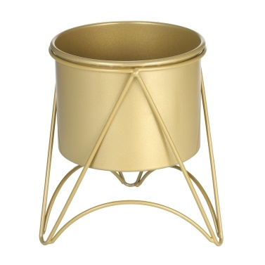 Flower Plant Pot with Stand Gold Metal Plant Pot with Gold Metal Stand for Herbs Orchids Cacti Succulents Indoor Outdoor Display Flower Holder for Garden and Home Dector