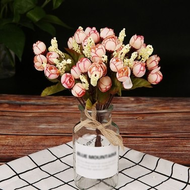 15Pcs Rose Buds Simulation Star Bracts Bouquet Silk