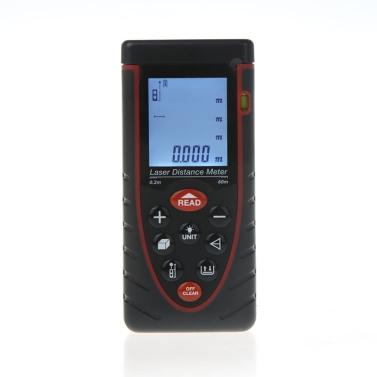 Docooler 60m / 197ft Handheld Laser Distanzmessgerät Entfernungsmesser Abstandsmesser mit Blase Ebene Fläche Volumen Messen