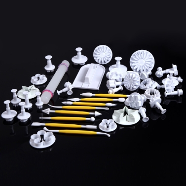 46pcs Cake Fondant Gumpaste Embossing Modelling Craft Decorating Tools Set