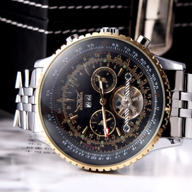 Jaragar Automatic Self-winding Mechanical Wrist Watch with Analog Display Stainless Strap Luxury Design Balance Wheel Gold & Black