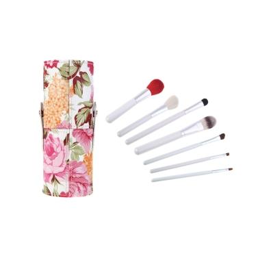 7st. professionelle Make-up Pinsel Kosmetik Set Brush Kit Make-up Tool mit Blumen Muster Cup Holder Case rot