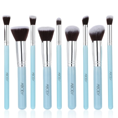 Wood 9Pcs Makeup Brush Kit