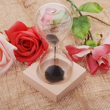 1pcs Magnet Sanduhr Awaglass mundgeblasenes Timer Desktop Dekoration magnetische Sanduhr schwarz