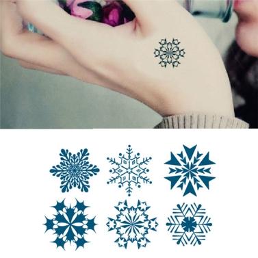 Tattoo Aufkleber Schneeflocke Muster wasserdicht temporäre Tätowierung Papierkörperkunst