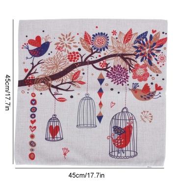 Fresh Rural Style Trees Birdcage Cotton and Linen Pillowcase Back Cushion Cover Throw Pillow Case for Bed Sofa Car Home Decorative Decor 45 * 45cm