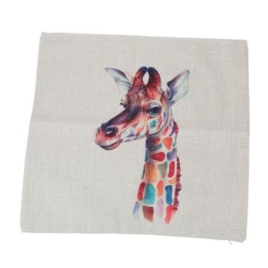 Giraffe Zebra Animals Cotton and Linen Pillowcase Back Cushion Cover Throw Pillow Case for Bed Sofa Car Home Decorative Decor 45 * 45cm