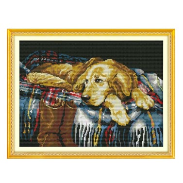 DIY Handmade Needlework Counted Cross Stitch Set Embroidery Kit 14CT Faithful Dog Pattern Cross-Stitching 43 * 33cm Home Decoration