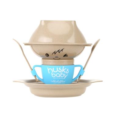 7pcs Eco-friendly Natural Rice Husk Fiber Dinnerware Set Tableware Kit for Baby Children Bowls + Plate + Cup + Spoon + Fork