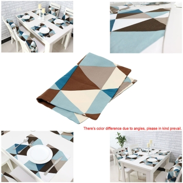 Modern Geometric Triangle Pattern Table Mat Cotton Slip-resistant Tableware Placemat Dish Bowl Weave Insulation-proof Pad