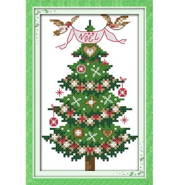 13 * 21cm DIY New Style Counted Cross Stitch Set Embroidery Needlework Kits Christmas Tree Pattern Cross Stitching Home Decoration 14CT