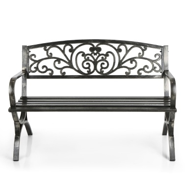 Second Hand iKayaa 3 Seater Iron Patio Garden Park Bench Chair Metal Porch Yard Seating Outdoor Furniture 220KG Capacity Antique Design