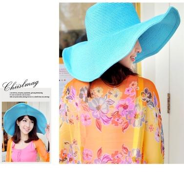 Fashion Cute Women Summer Straw Beach Hat Wide Large Brim Foldable Sun Hat Black