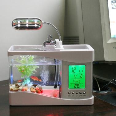 Aquário de mesa com relógio LED