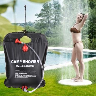 キャンプ シャワー バッグ屋外シャワー水 20 L キャンプ ハイキング太陽加熱