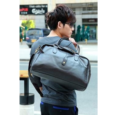 Koreanische Mode für Männer Fitnessstudio Duffle Tasche Travel Umhängetasche Handtasche PU Leder schwarz