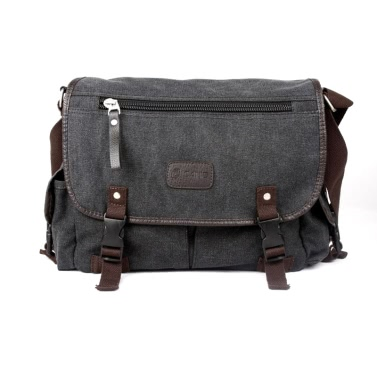 Herren Canvas Vintage Crossbody Satchel Schulter Casual Messenger School Book Bag schwarz