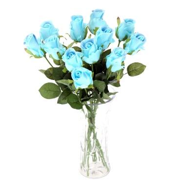 12PCS Künstlich Rose Blume Weich PU Lebendige Simulation Rose Blumenstrauß mit Einzelnem Stamm für Hochzeit Braut Party Haus Hotel Dekoration