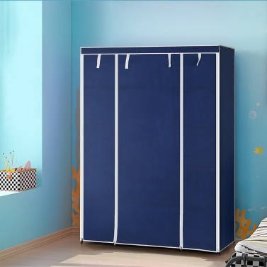 iKayaa Portable Fabric Closet Wardrobe Cabinet Storage Organizer Clothes Hanger  with 13 Storage Shelves 1 Hanging Rod